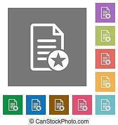 Favorite document square flat icons