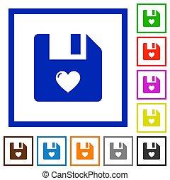 Favorite file flat framed icons