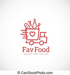 Favorite Food Delivery Abstract Vector Concept Icon or Logo Template