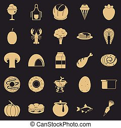 Favorite food icons set, simple style