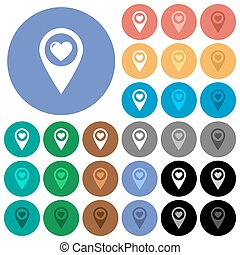 Favorite GPS map location round flat multi colored icons