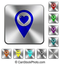 Favorite GPS map location rounded square steel buttons