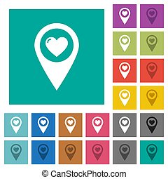 Favorite GPS map location square flat multi colored icons