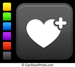favorite heart icon on square internet button - Original...