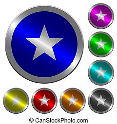 Favorite luminous coin-like round color buttons