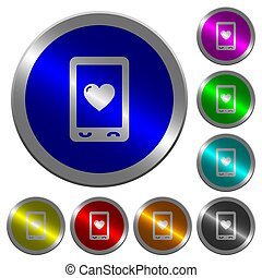 Favorite mobile content luminous coin-like round color buttons