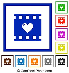 Favorite movie flat framed icons