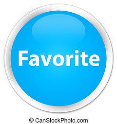 Favorite premium cyan blue round button