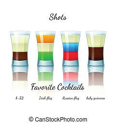 Favorite shot cocktails set, isolated