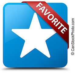Favorite (star icon) cyan blue square button red ribbon in corner