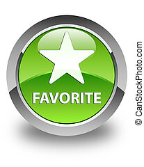 Favorite (star icon) glossy green round button