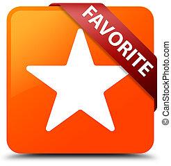 Favorite (star icon) orange square button red ribbon in corner
