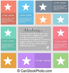 Favorite Star icon sign. Set of multicolored buttons. Metro...