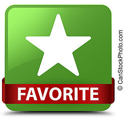 Favorite (star icon) soft green square button red ribbon in middle