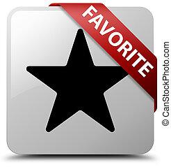 Favorite (star icon) white square button red ribbon in corner