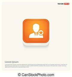 Favorite user icon Orange Abstract Web Button