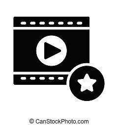 favorite video glyph flat vector icon