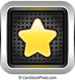 Favorites icon gold star on chrome metal button