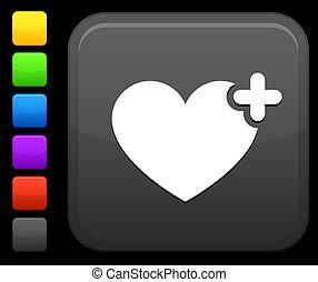 favorito, coração, ícone, ligado, quadrado, internet, botão