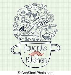 favorito, cozinha, cartão, design., engraçado, vetorial,...
