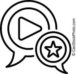 favorito, vídeo, blog, ícone, esboço, estilo