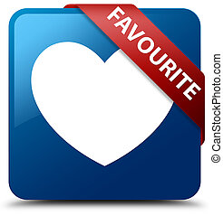 Favourite (heart icon) blue square button red ribbon in corner