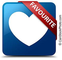 Favourite (heart icon) blue square button red ribbon in corner