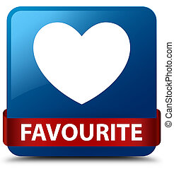 Favourite (heart icon) blue square button red ribbon in middle