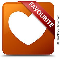 Favourite (heart icon) brown square button red ribbon in corner