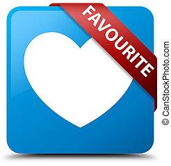 Favourite (heart icon) cyan blue square button red ribbon in corner