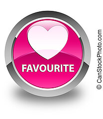 Favourite (heart icon) glossy pink round button