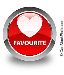 Favourite (heart icon) glossy red round button