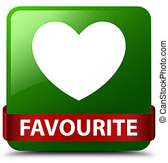 Favourite (heart icon) green square button red ribbon in middle