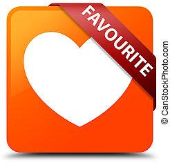 Favourite (heart icon) orange square button red ribbon in corner