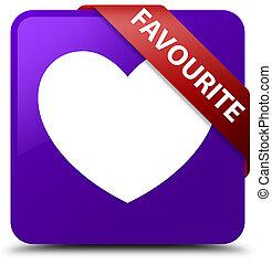 Favourite (heart icon) purple square button red ribbon in corner