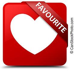 Favourite (heart icon) red square button red ribbon in corner