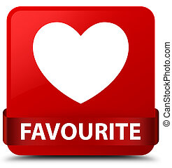 Favourite (heart icon) red square button red ribbon in middle