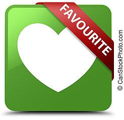 Favourite (heart icon) soft green square button red ribbon in corner