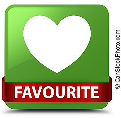 Favourite (heart icon) soft green square button red ribbon in middle