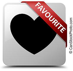 Favourite (heart icon) white square button red ribbon in corner