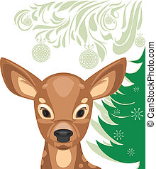 Fawn and Christmas tree. Vector illustration