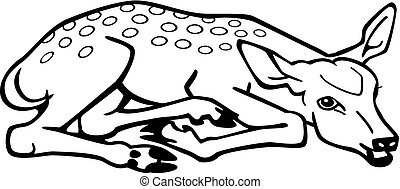 Fawn - vector illustration a deer fawn lying down