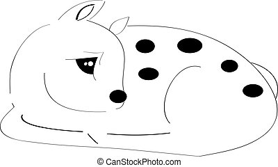 Fawn - Sleeping fawn on white background.Vector...