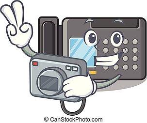 fax , φωτογράφος , μηχανή , επάνω , τραπέζι , γελοιογραφία