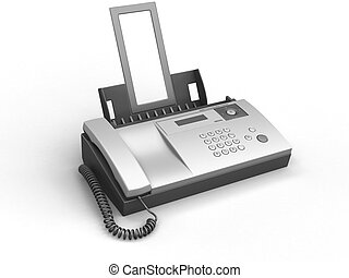 Fax - 3d image of fax. White background.