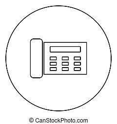 Fax black icon outline in circle image