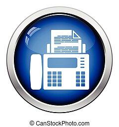 Fax icon. Glossy button design. Vector illustration.