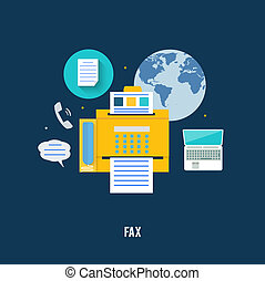 Fax icon in flat design