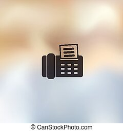 fax icon on blurred background