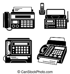 Fax icons set, simple style